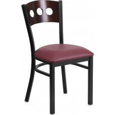HERCULES Series Black 3 Circle Back Metal Restaurant Chair - Walnut Wood Back, Burgundy Vinyl Seat [XU-DG-6Y2B-WAL-BURV-GG]