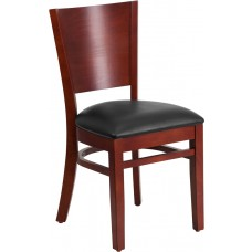 Lacey Series Solid Back Mahogany Wood Restaurant Chair - Black Vinyl Seat [XU-DG-W0094B-MAH-BLKV-GG]