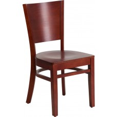 Lacey Series Solid Back Mahogany Wood Restaurant Chair [XU-DG-W0094B-MAH-MAH-GG]