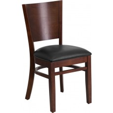 Lacey Series Solid Back Walnut Wood Restaurant Chair - Black Vinyl Seat [XU-DG-W0094B-WAL-BLKV-GG]