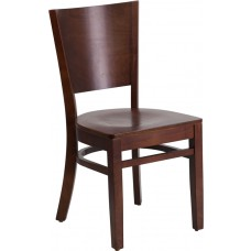 Lacey Series Solid Back Walnut Wood Restaurant Chair [XU-DG-W0094B-WAL-WAL-GG]