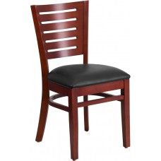 Darby Series Slat Back Mahogany Wood Restaurant Chair - Black Vinyl Seat [XU-DG-W0108-MAH-BLKV-GG]