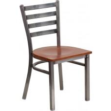 HERCULES Series Clear Coated Ladder Back Metal Restaurant Chair - Cherry Wood Seat [XU-DG694BLAD-CLR-CHYW-GG]