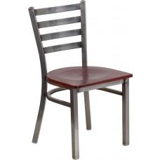 HERCULES Series Clear Coated Ladder Back Metal Restaurant Chair - Mahogany Wood Seat [XU-DG694BLAD-CLR-MAHW-GG]