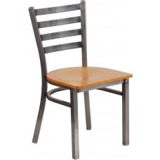 HERCULES Series Clear Coated Ladder Back Metal Restaurant Chair - Natural Wood Seat [XU-DG694BLAD-CLR-NATW-GG]