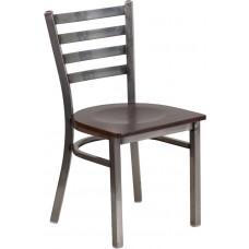 HERCULES Series Clear Coated Ladder Back Metal Restaurant Chair - Walnut Wood Seat [XU-DG694BLAD-CLR-WALW-GG]