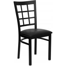 HERCULES Series Black Window Back Metal Restaurant Chair - Black Vinyl Seat [XU-DG6Q3BWIN-BLKV-GG]