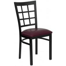 HERCULES Series Black Window Back Metal Restaurant Chair - Burgundy Vinyl Seat [XU-DG6Q3BWIN-BURV-GG]