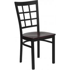 HERCULES Series Black Window Back Metal Restaurant Chair - Mahogany Wood Seat [XU-DG6Q3BWIN-MAHW-GG]