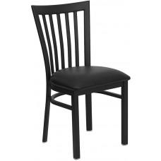 HERCULES Series Black School House Back Metal Restaurant Chair - Black Vinyl Seat [XU-DG6Q4BSCH-BLKV-GG]