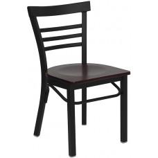 HERCULES Series Black Ladder Back Metal Restaurant Chair - Mahogany Wood Seat [XU-DG6Q6B1LAD-MAHW-GG]
