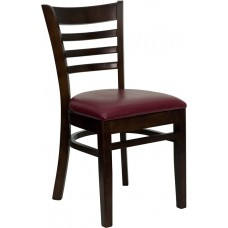 HERCULES Series Ladder Back Walnut Wood Restaurant Chair - Burgundy Vinyl Seat [XU-DGW0005LAD-WAL-BURV-GG]