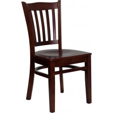 HERCULES Series Vertical Slat Back Mahogany Wood Restaurant Chair [XU-DGW0008VRT-MAH-GG]