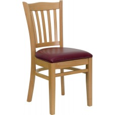 HERCULES Series Vertical Slat Back Natural Wood Restaurant Chair - Burgundy Vinyl Seat [XU-DGW0008VRT-NAT-BURV-GG]