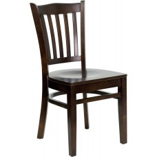 HERCULES Series Vertical Slat Back Walnut Wood Restaurant Chair [XU-DGW0008VRT-WAL-GG]