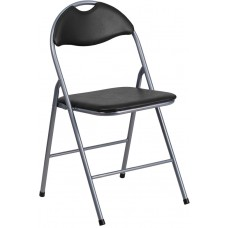 HERCULES Series Black Vinyl Metal Folding Chair with Carrying Handle [YB-YJ806H-GG]