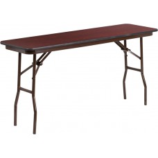 18'' x 60'' Rectangular High Pressure Mahogany Laminate Folding Training Table [YT-1860-HIGH-WAL-GG]