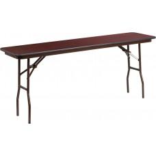18'' x 72'' Rectangular High Pressure Mahogany Laminate Folding Training Table [YT-1872-HIGH-WAL-GG]