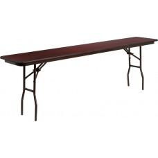 18'' x 96'' Rectangular Mahogany Melamine Laminate Folding Training Table [YT-1896-MEL-WAL-GG]