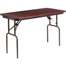 24'' x 48'' Rectangular High Pressure Mahogany Laminate Folding Banquet Table [YT-2448-HIGH-WAL-GG]