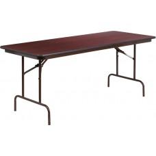 30'' x 72'' Rectangular High Pressure Mahogany Laminate Folding Banquet Table [YT-3072-HIGH-WAL-GG]