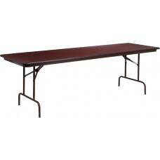 30'' x 96'' Rectangular High Pressure Mahogany Laminate Folding Banquet Table [YT-3096-HIGH-WAL-GG]
