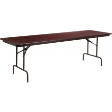 30'' x 96'' Rectangular Mahogany Melamine Laminate Folding Banquet Table [YT-3096-MEL-WAL-GG]