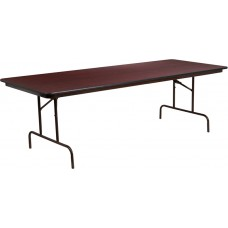 36'' x 96'' Rectangular Mahogany Melamine Laminate Folding Banquet Table [YT-3696-MEL-WAL-GG]