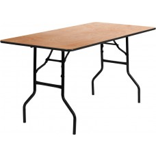 30'' x 60'' Rectangular Wood Folding Banquet Table with Clear Coated Finished Top [YT-WTFT30X60-TBL-GG]