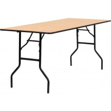 30'' x 72'' Rectangular Wood Folding Banquet Table with Clear Coated Finished Top [YT-WTFT30X72-TBL-GG]