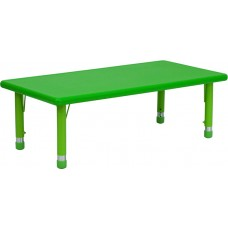24''W x 48''L Rectangular Green Plastic Height Adjustable Activity Table [YU-YCX-001-2-RECT-TBL-GREEN-GG]