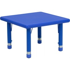 24'' Square Blue Plastic Height Adjustable Activity Table [YU-YCX-002-2-SQR-TBL-BLUE-GG]