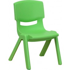 Green Plastic Stackable School Chair with 10.5'' Seat Height [YU-YCX-003-GREEN-GG]
