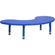 35''W x 65''L Half-Moon Blue Plastic Height Adjustable Activity Table [YU-YCX-004-2-MOON-TBL-BLUE-GG]