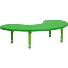 35''W x 65''L Half-Moon Green Plastic Height Adjustable Activity Table [YU-YCX-004-2-MOON-TBL-GREEN-GG]