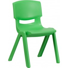 Green Plastic Stackable School Chair with 15.5'' Seat Height [YU-YCX-005-GREEN-GG]