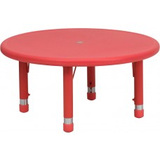 33'' Round Red Plastic Height Adjustable Activity Table [YU-YCX-007-2-ROUND-TBL-RED-GG]
