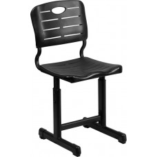 Adjustable Height Black Student Chair with Black Pedestal Frame [YU-YCX-09010-GG]