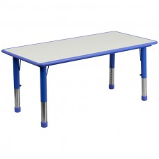 23.625''W x 47.25''L Rectangular Blue Plastic Height Adjustable Activity Table with Grey Top [YU-YCY-060-RECT-TBL-BLUE-GG]