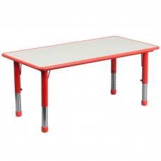 23.625''W x 47.25''L Rectangular Red Plastic Height Adjustable Activity Table with Grey Top [YU-YCY-060-RECT-TBL-RED-GG]