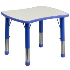 21.875''W x 26.625''L Rectangular Blue Plastic Height Adjustable Activity Table with Grey Top [YU-YCY-098-RECT-TBL-BLUE-GG]