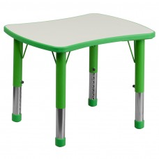 21.875''W x 26.625''L Rectangular Green Plastic Height Adjustable Activity Table with Grey Top [YU-YCY-098-RECT-TBL-GREEN-GG]