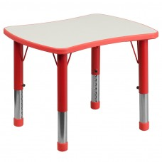 21.875''W x 26.625''L Rectangular Red Plastic Height Adjustable Activity Table with Grey Top [YU-YCY-098-RECT-TBL-RED-GG]