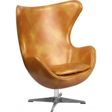 Gold Leather Egg Chair with Tilt-Lock Mechanism [ZB-24-GG]