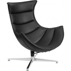 Black Leather Swivel Cocoon Chair [ZB-31-GG]