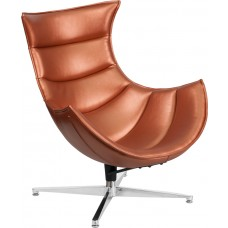 Copper Leather Swivel Cocoon Chair [ZB-36-GG]