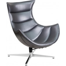 Gray Leather Swivel Cocoon Chair [ZB-37-GG]