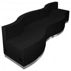 HERCULES Alon Series Black Leather Reception Configuration, 4 Pieces [ZB-803-730-SET-BK-GG]