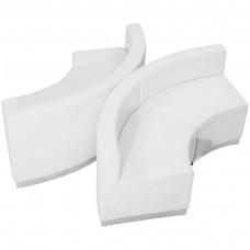 HERCULES Alon Series Melrose White Leather Reception Configuration, 4 Pieces [ZB-803-840-SET-WH-GG]
