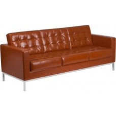 HERCULES Lacey Series Contemporary Cognac Leather Sofa with Stainless Steel Frame [ZB-LACEY-831-2-SOFA-COG-GG]